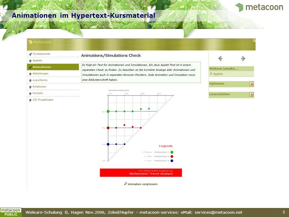 Animationen im Hypertext-Kursmaterial