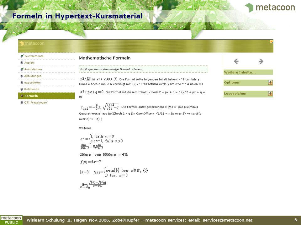Formeln in Hypertext-Kursmaterial