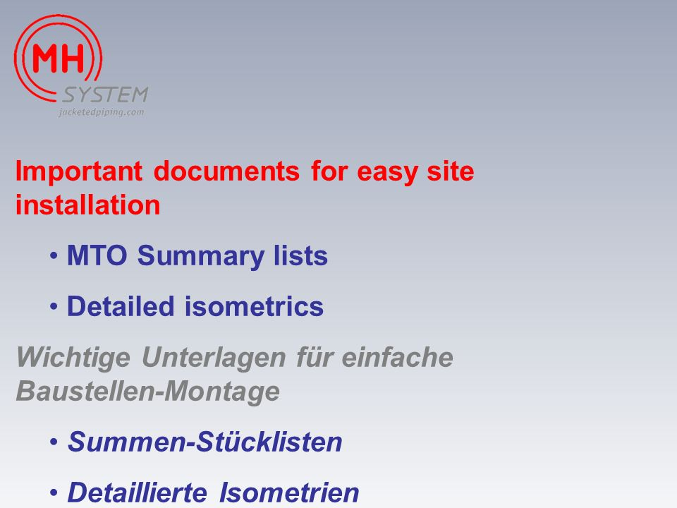 Important documents for easy site installation