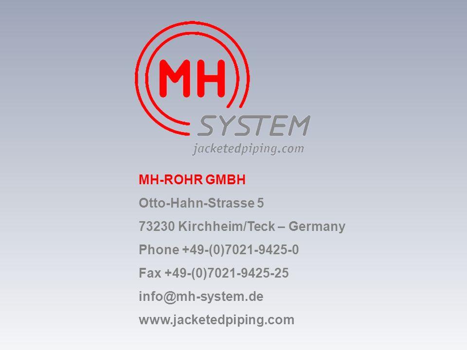 MH-ROHR GMBH Otto-Hahn-Strasse 5. 73230 Kirchheim/Teck – Germany. Phone +49-(0)7021-9425-0. Fax +49-(0)7021-9425-25.