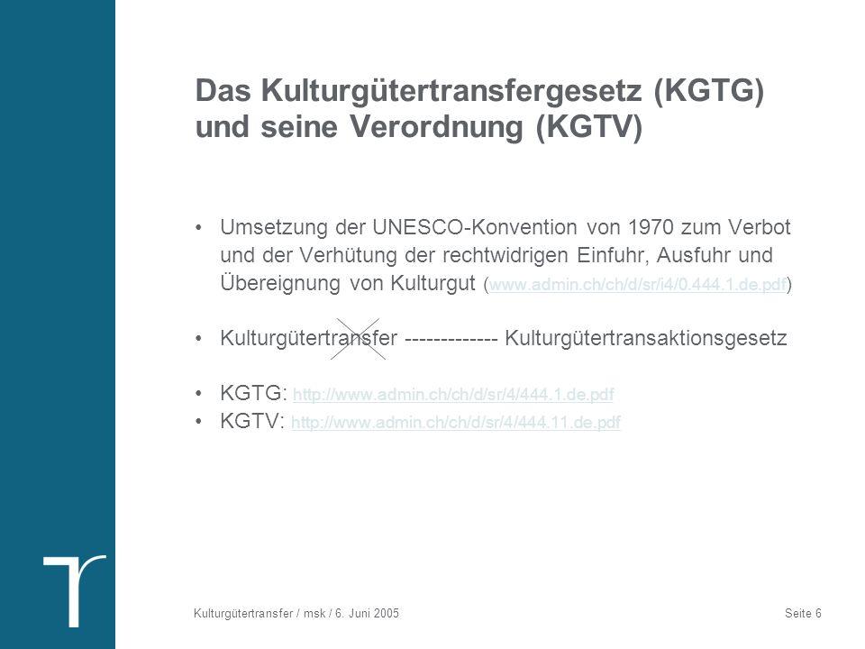 Was regelt das KGTG/KGTV