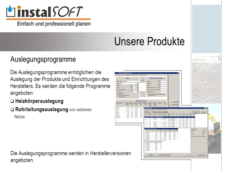 Unsere Produkte Auslegungsprogramme
