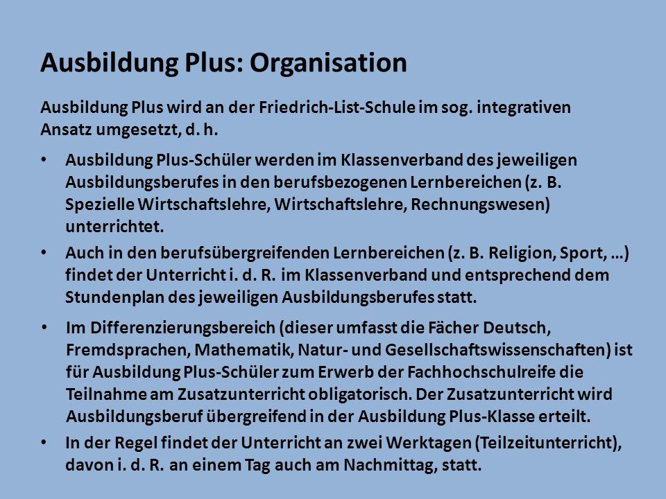 Ausbildung Plus: Organisation