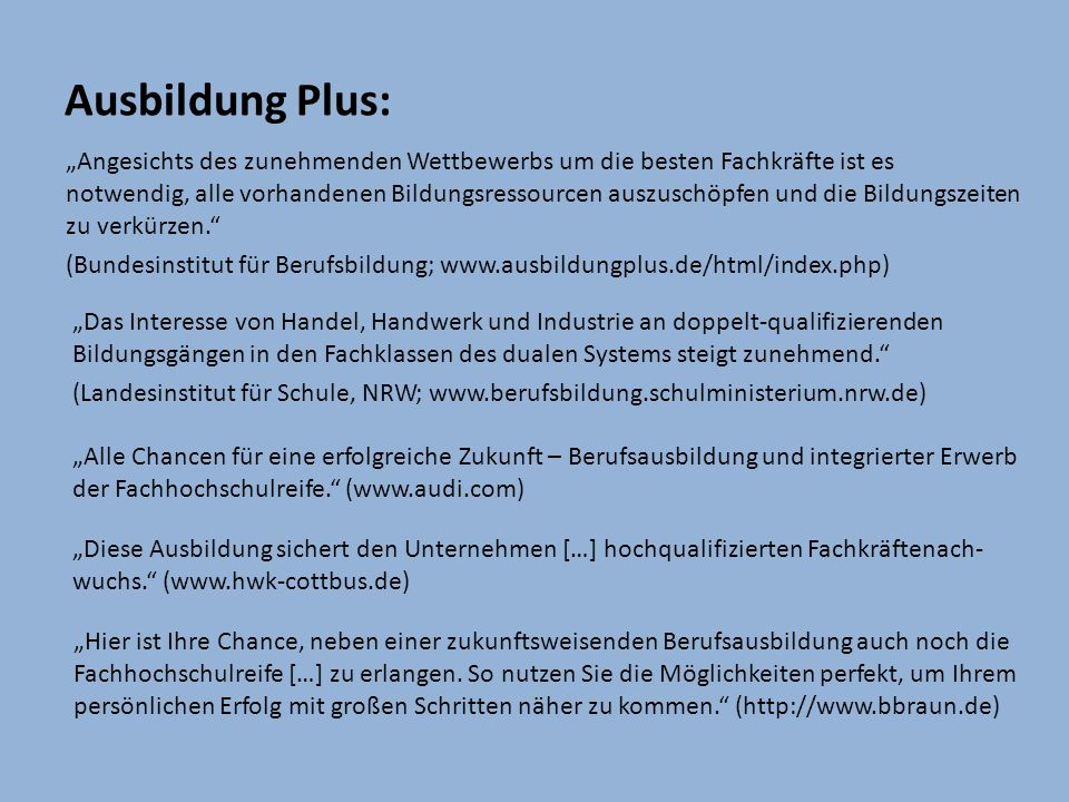 Ausbildung Plus: