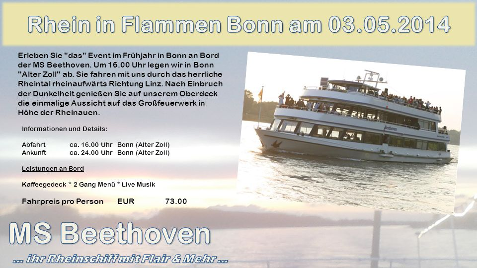 MS Beethoven Rhein in Flammen Bonn am