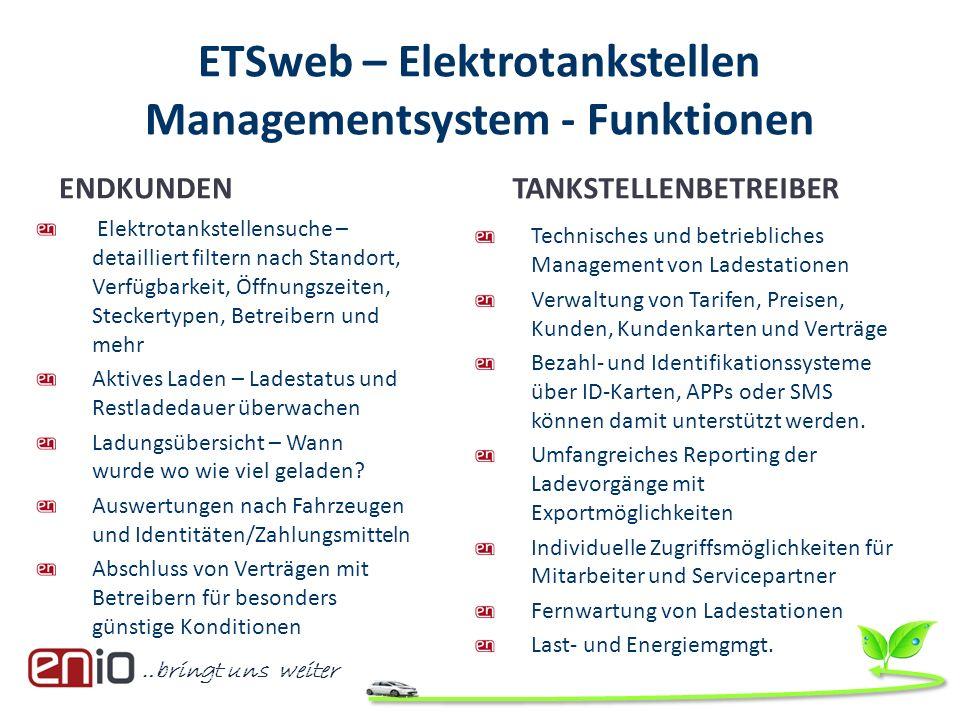 ETSweb – Elektrotankstellen Managementsystem - Funktionen