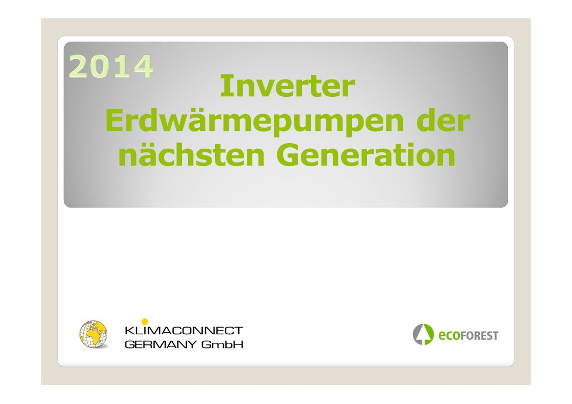 2014 Inverter Erdwärmepumpen der nächsten Generation