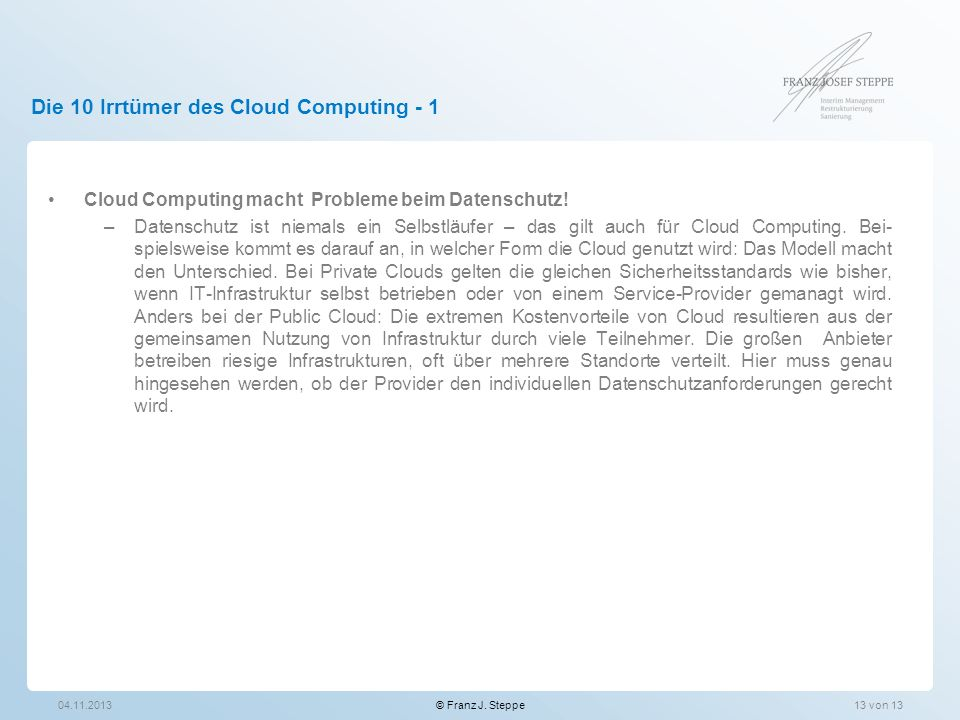 Die 10 Irrtümer des Cloud Computing - 1