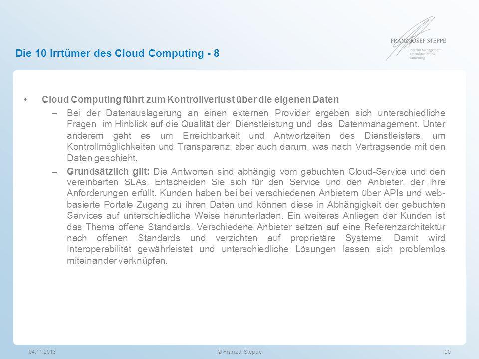 Die 10 Irrtümer des Cloud Computing - 8