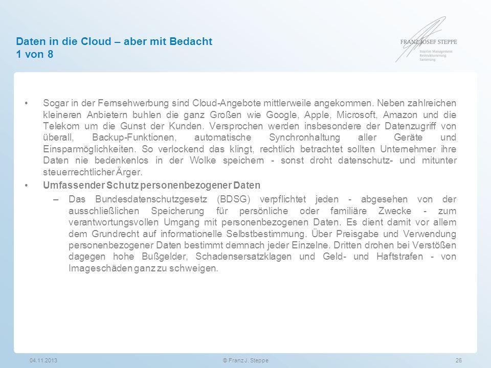 Daten in die Cloud – aber mit Bedacht 1 von 8
