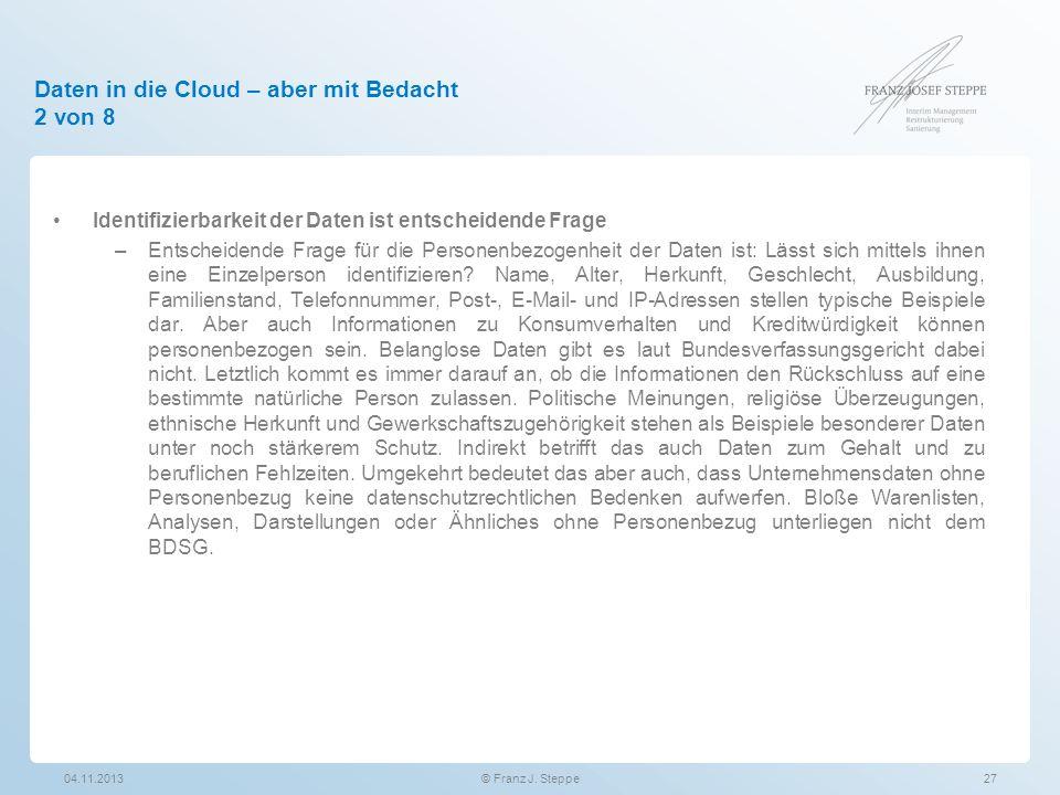 Daten in die Cloud – aber mit Bedacht 2 von 8