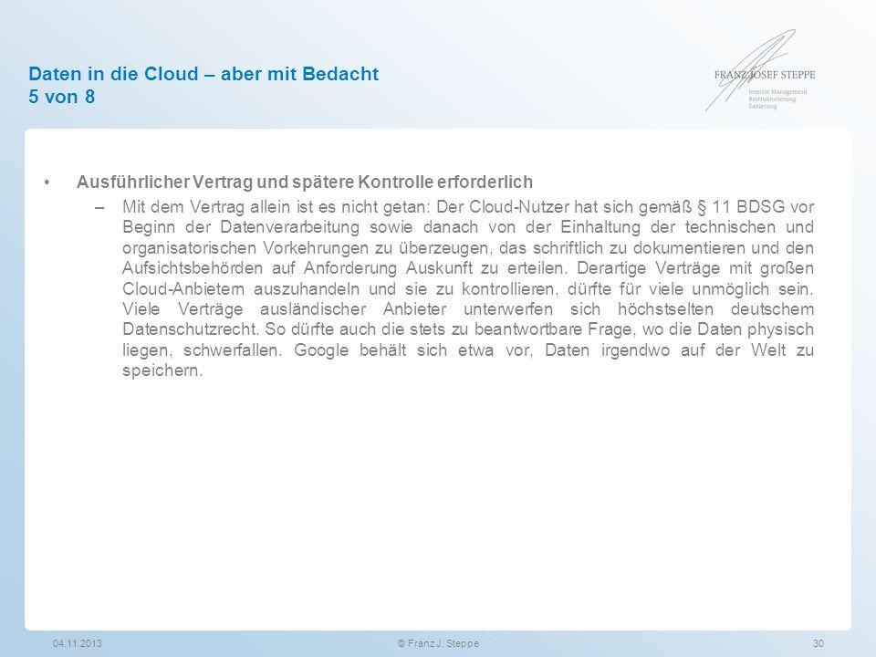 Daten in die Cloud – aber mit Bedacht 5 von 8