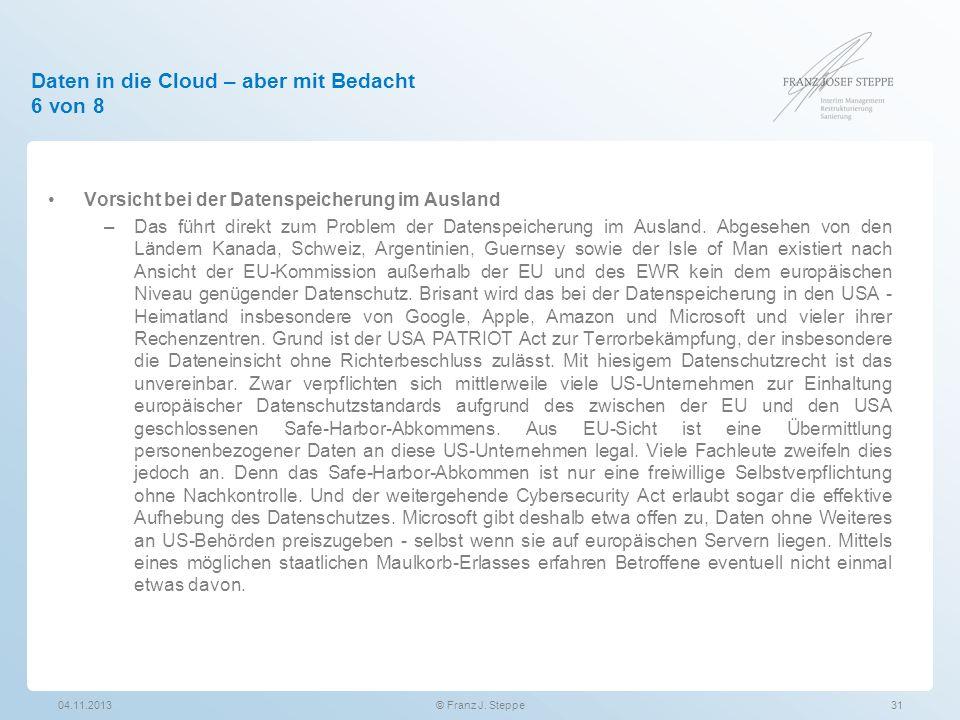 Daten in die Cloud – aber mit Bedacht 6 von 8