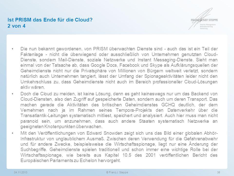 Ist PRISM das Ende für die Cloud 2 von 4