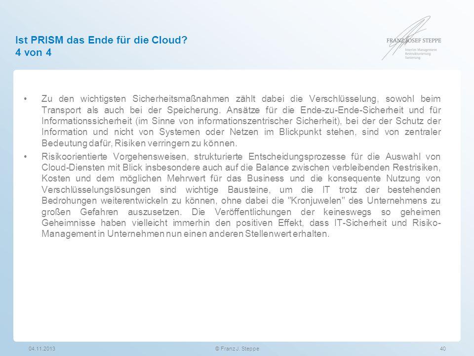 Ist PRISM das Ende für die Cloud 4 von 4
