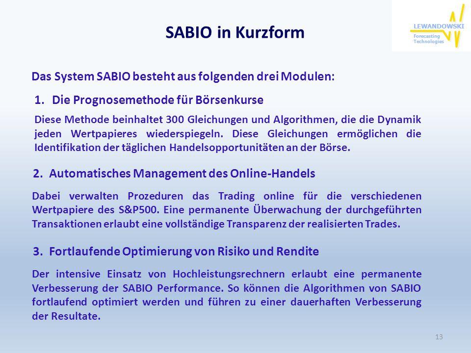 SABIO in Kurzform Das System SABIO besteht aus folgenden drei Modulen: