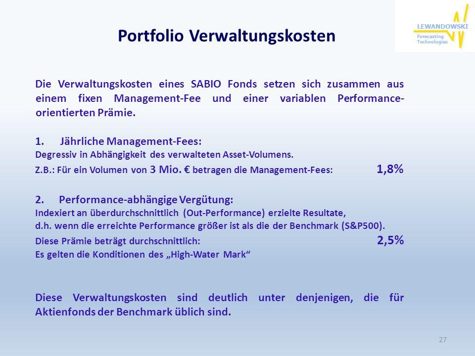Portfolio Verwaltungskosten