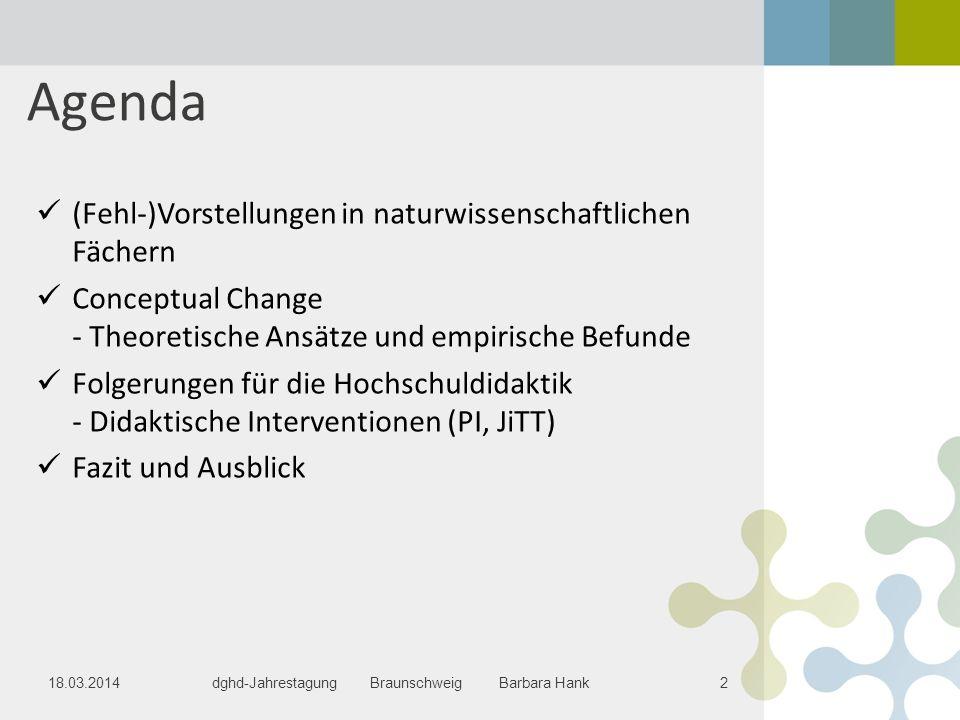 Agenda (Fehl-)Vorstellungen in naturwissenschaftlichen Fächern
