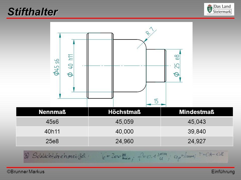 Stifthalter Nennmaß Höchstmaß Mindestmaß 45s6 45,059 45,043 40h11
