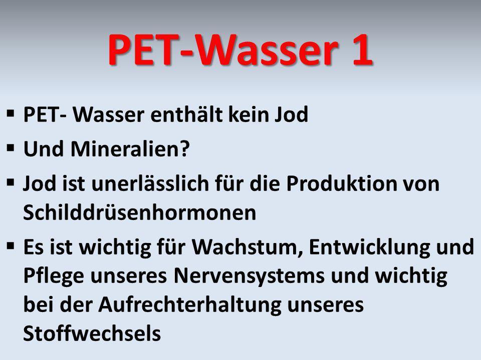 PET-Wasser 1 PET- Wasser enthält kein Jod Und Mineralien