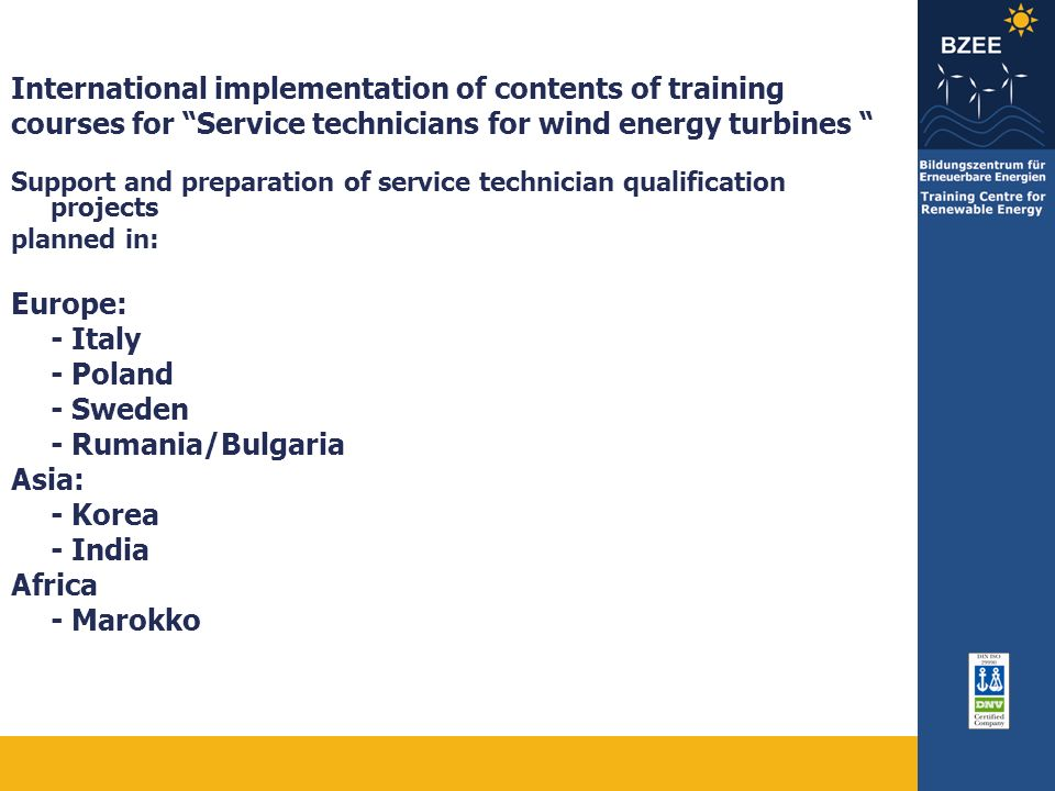 International implementation of contents of training