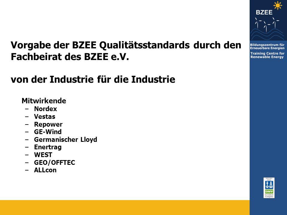 Vorgabe der BZEE Qualitätsstandards durch den Fachbeirat des BZEE e.V.