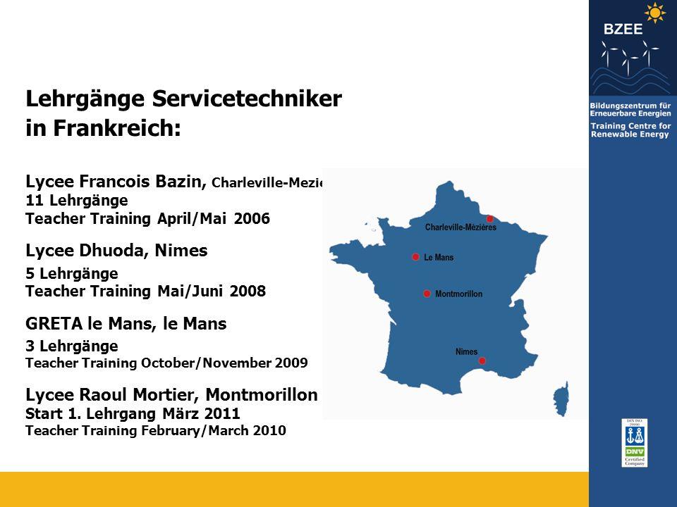 Lehrgänge Servicetechniker in Frankreich: