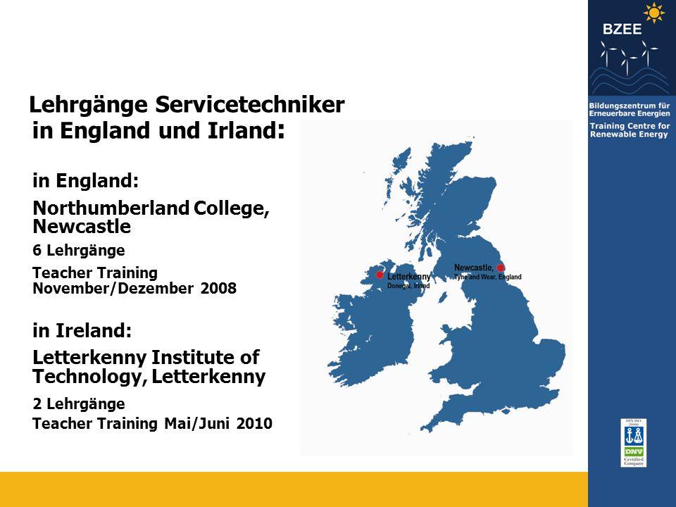 Lehrgänge Servicetechniker in England und Irland: