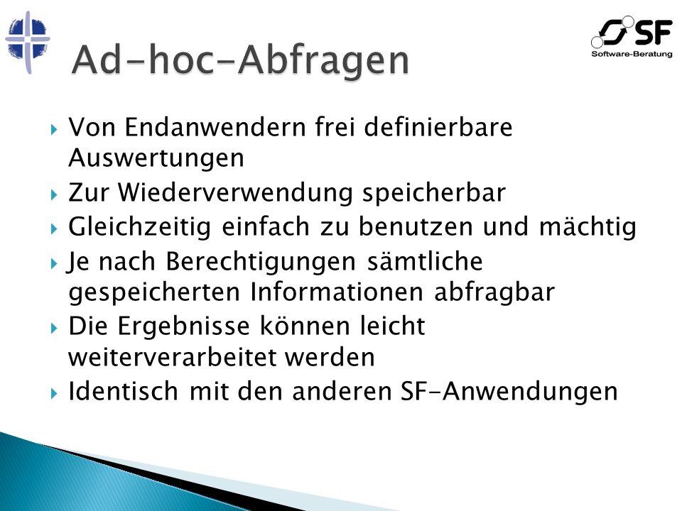 Ad-hoc-Abfragen Von Endanwendern frei definierbare Auswertungen