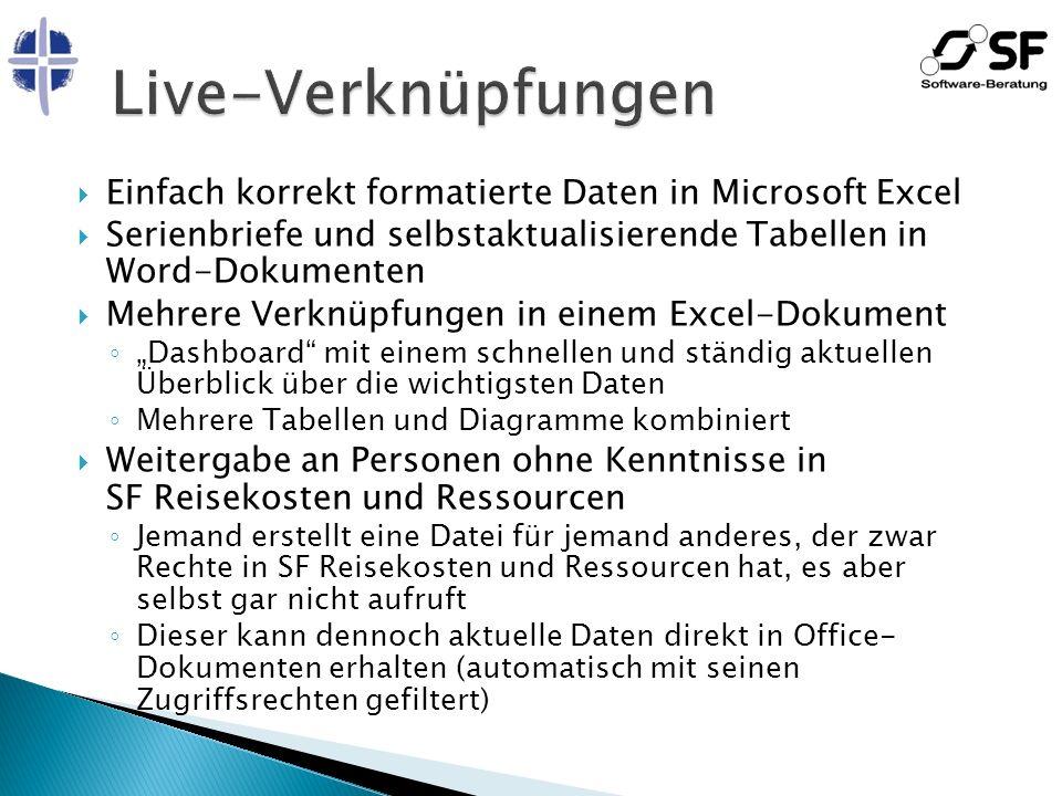 Live-Verknüpfungen Einfach korrekt formatierte Daten in Microsoft Excel. Serienbriefe und selbstaktualisierende Tabellen in Word-Dokumenten.