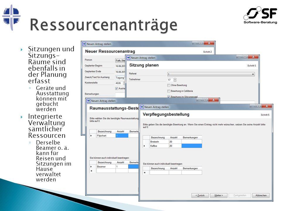 Ressourcenanträge Sitzungen und Sitzungs- Räume sind ebenfalls in der Planung erfasst. Geräte und Ausstattung können mit gebucht werden.
