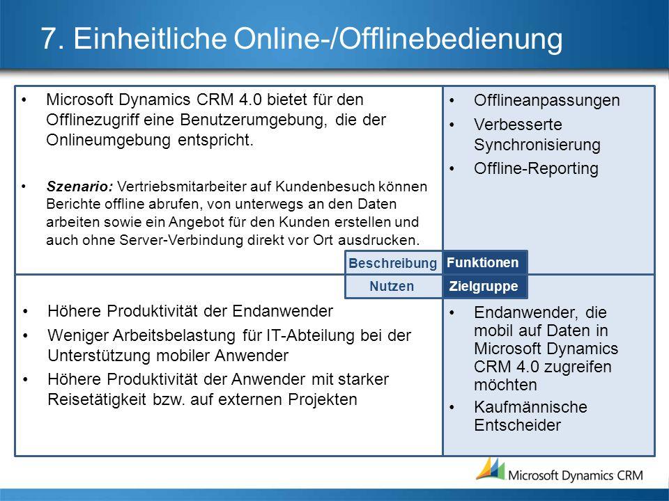 7. Einheitliche Online-/Offlinebedienung
