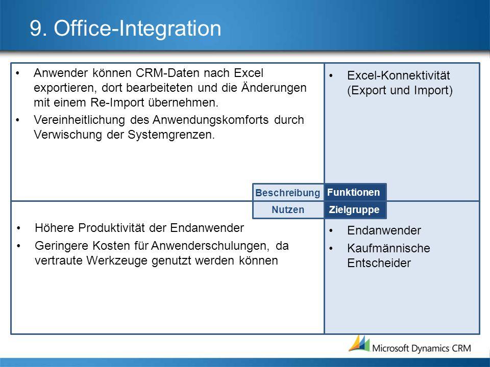 9. Office-Integration Anwender können CRM-Daten nach Excel exportieren, dort bearbeiteten und die Änderungen mit einem Re-Import übernehmen.