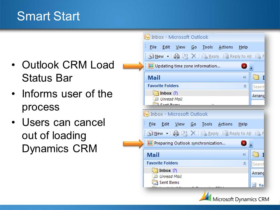 Smart Start Outlook CRM Load Status Bar Informs user of the process