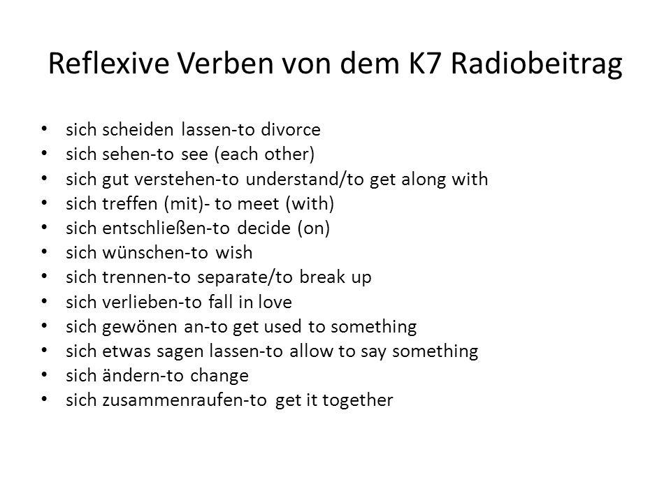 Reflexive Verben von dem K7 Radiobeitrag