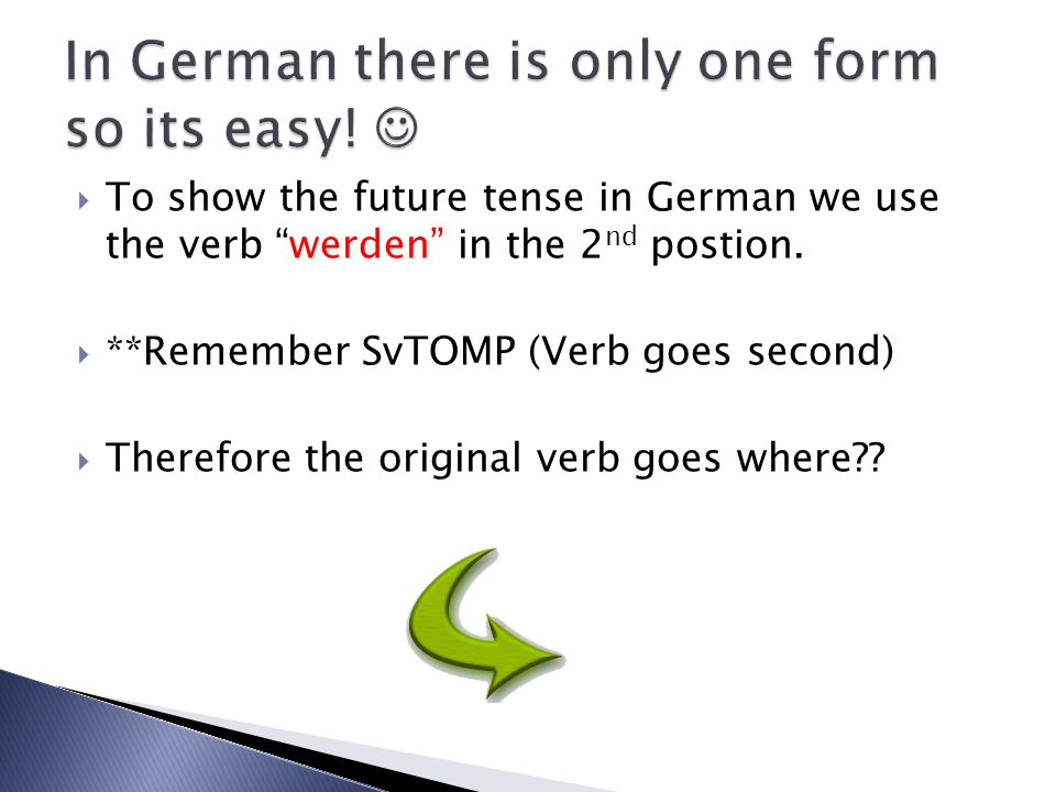 In German there is only one form so its easy! 