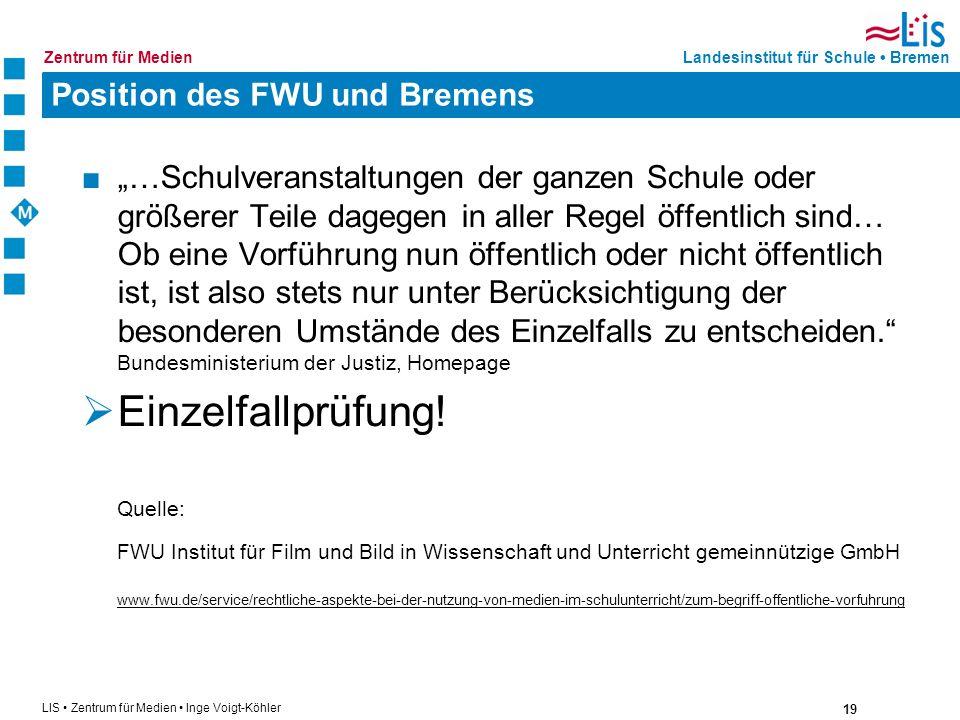 Position des FWU und Bremens