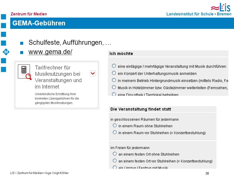 GEMA-Gebühren Schulfeste, Aufführungen, … www.gema.de/