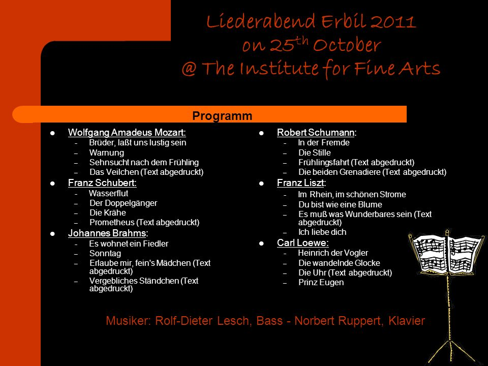 Liederabend Erbil 2011 on 25th October @ The Institute for Fine Arts
