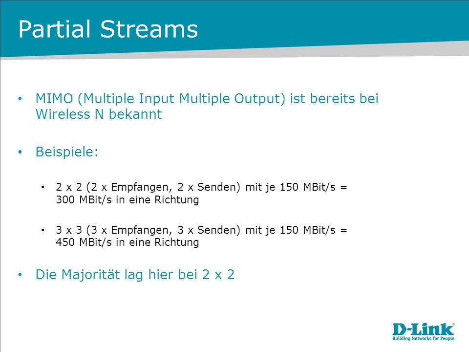Partial Streams MIMO (Multiple Input Multiple Output) ist bereits bei Wireless N bekannt. Beispiele: