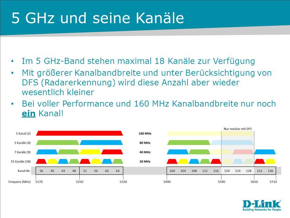 5 GHz und seine Kanäle Im 5 GHz-Band stehen maximal 18 Kanäle zur Verfügung.