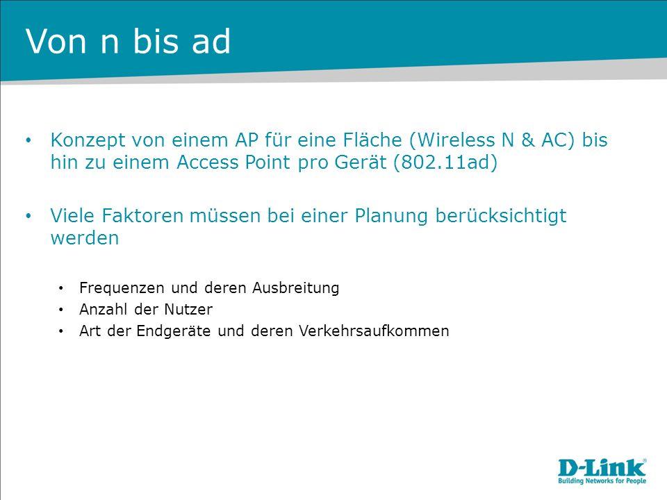 Von n bis ad Konzept von einem AP für eine Fläche (Wireless N & AC) bis hin zu einem Access Point pro Gerät (802.11ad)