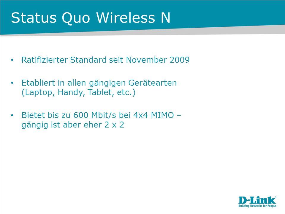 Status Quo Wireless N Ratifizierter Standard seit November 2009