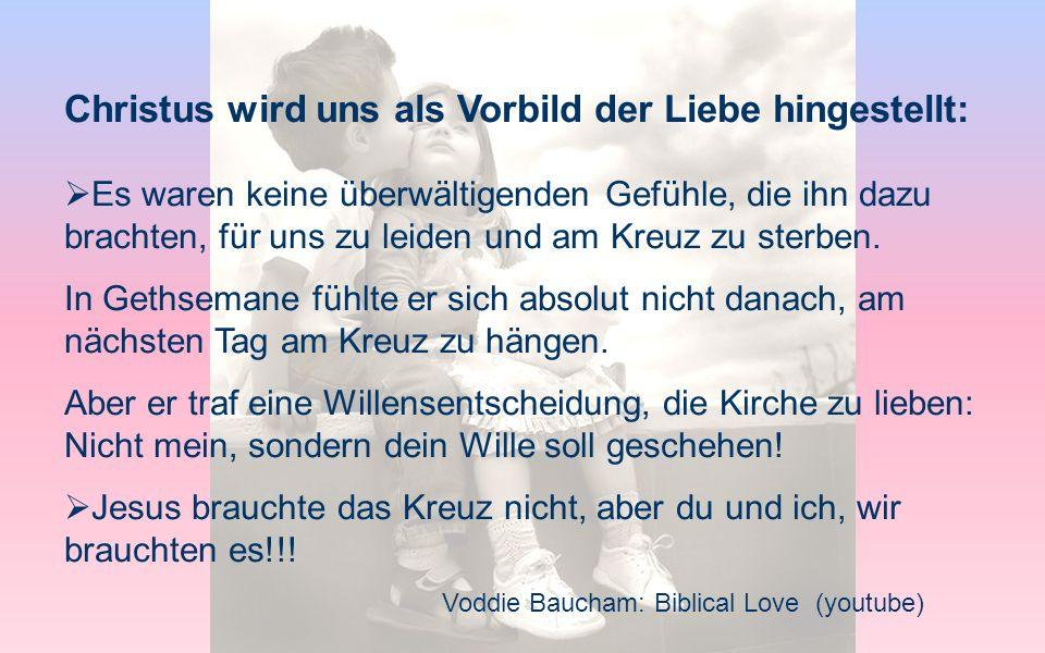 Christus wird uns als Vorbild der Liebe hingestellt: