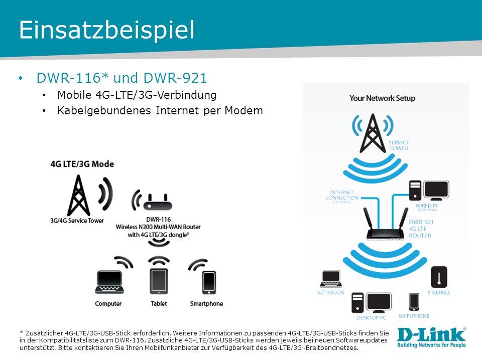Einsatzbeispiel DWR-116* und DWR-921 Mobile 4G-LTE/3G-Verbindung