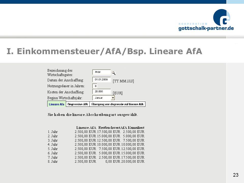 I. Einkommensteuer/AfA/Bsp. Lineare AfA