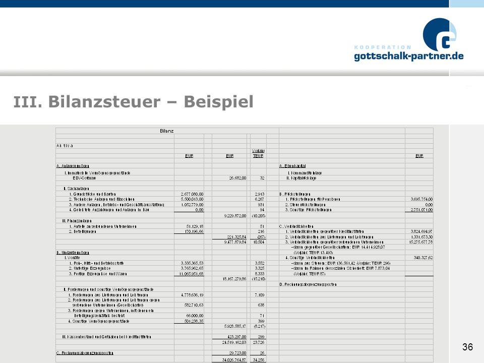 III. Bilanzsteuer – Beispiel