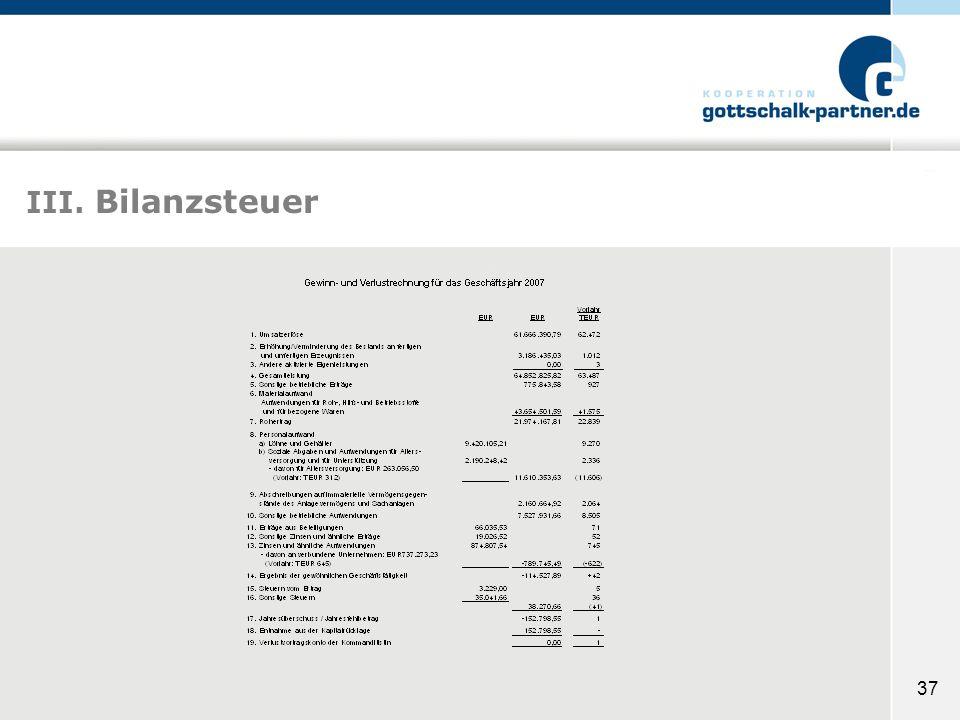 III. Bilanzsteuer