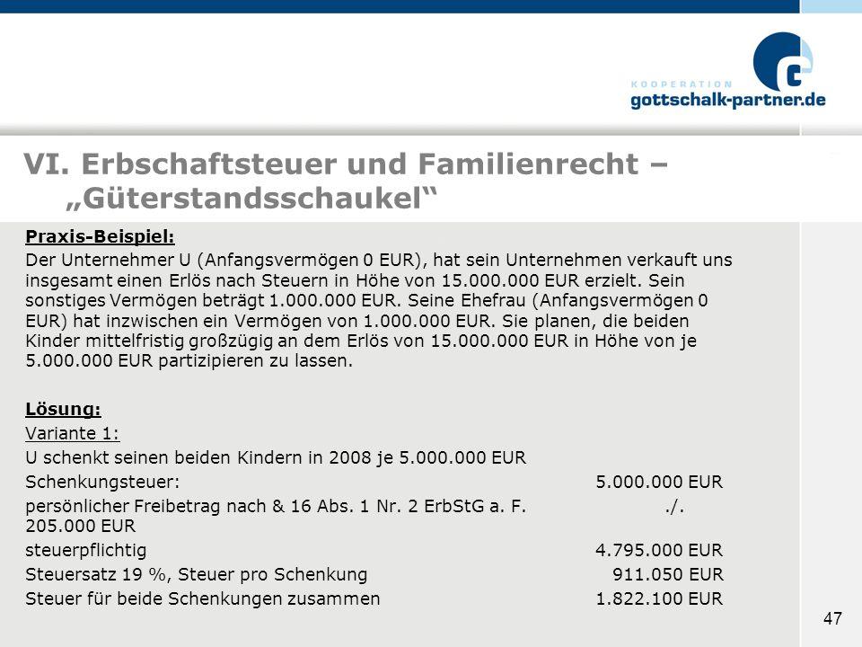 """VI. Erbschaftsteuer und Familienrecht – """"Güterstandsschaukel"""