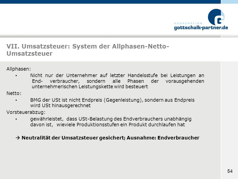 VII. Umsatzsteuer: System der Allphasen-Netto-Umsatzsteuer
